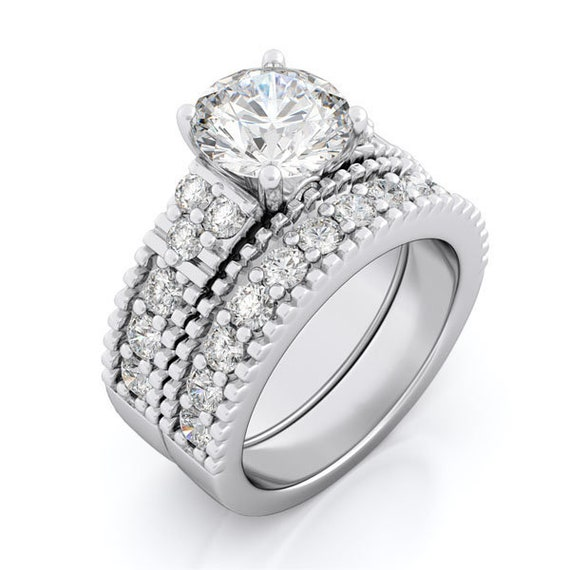 2PC Armalique CZ Simulated Diamond Silver Bridal Set