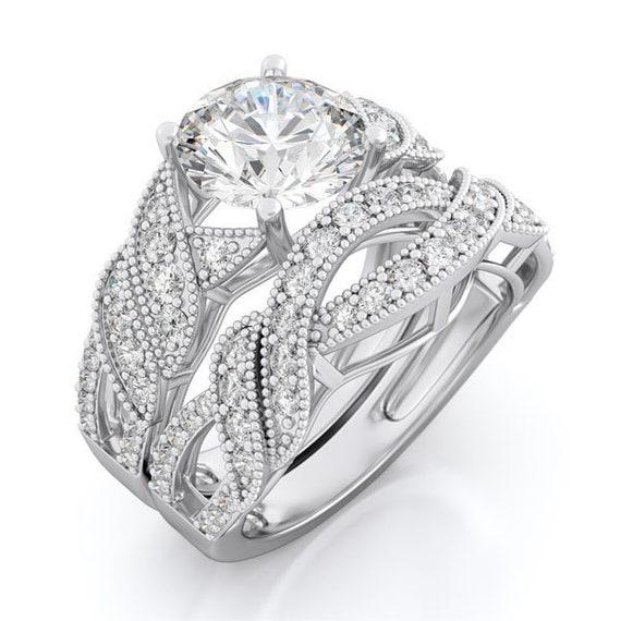 2PC Antique Style CZ Simulated Diamond Silver Wedding Set