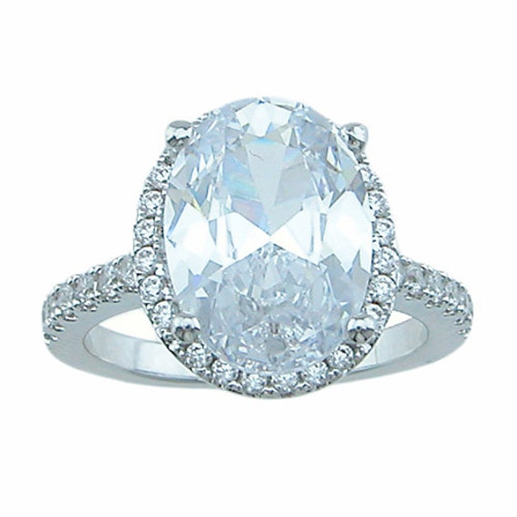 Silver Antique Style Oval Cut Engagement ring