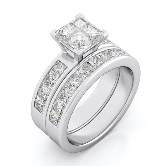 2PC Square CZ Simulated Diamond Silver Bridal Set
