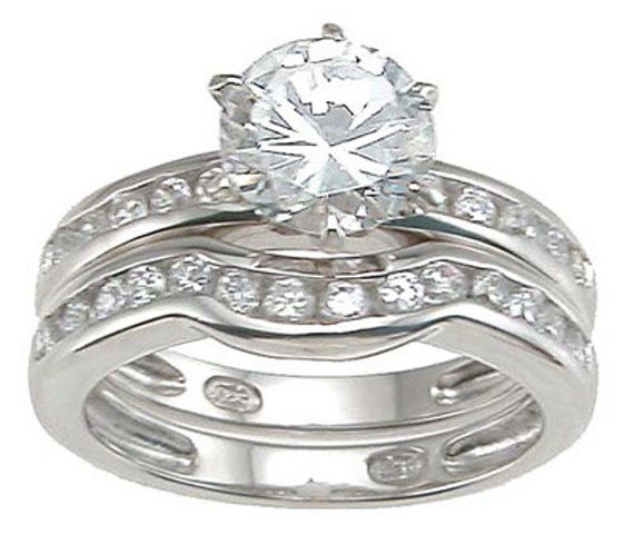 2PC Brilliant Round Cut CZ Engagement Wedding Ring Set
