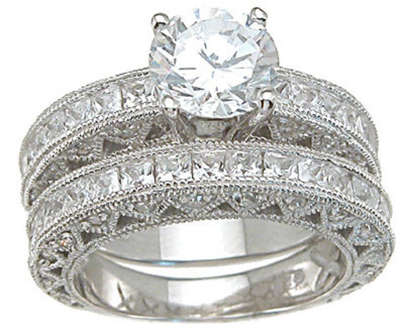2PC Antique Style CZ Simulated Diamond Silver Ring Bridal Set