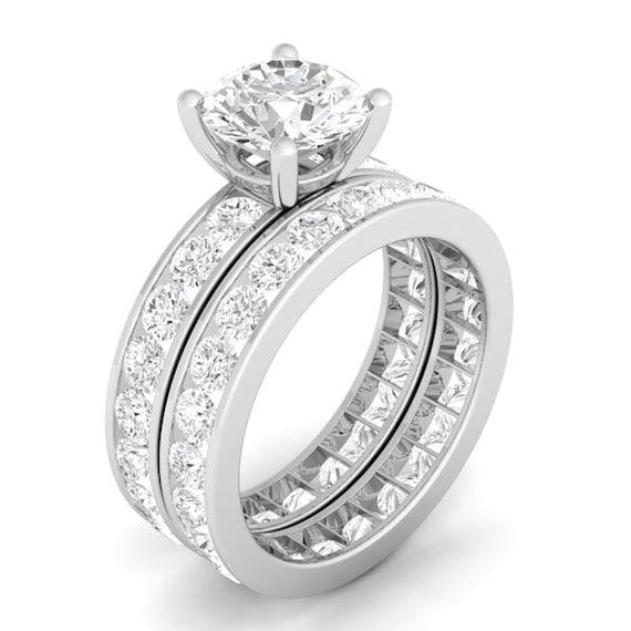 2PC Channel CZ Simulated Diamond Silver Bridal Wedding Ring Set