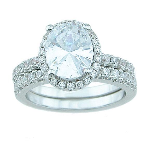 2PC Oval Cut Paved CZ Simulated Diamond Silver Bridal Set