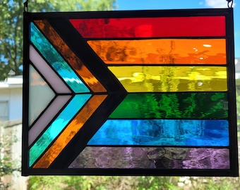 """Stained Glass Pride Flag LGBTQ Sun Catcher Panel 11"""" x 8.5"""""""