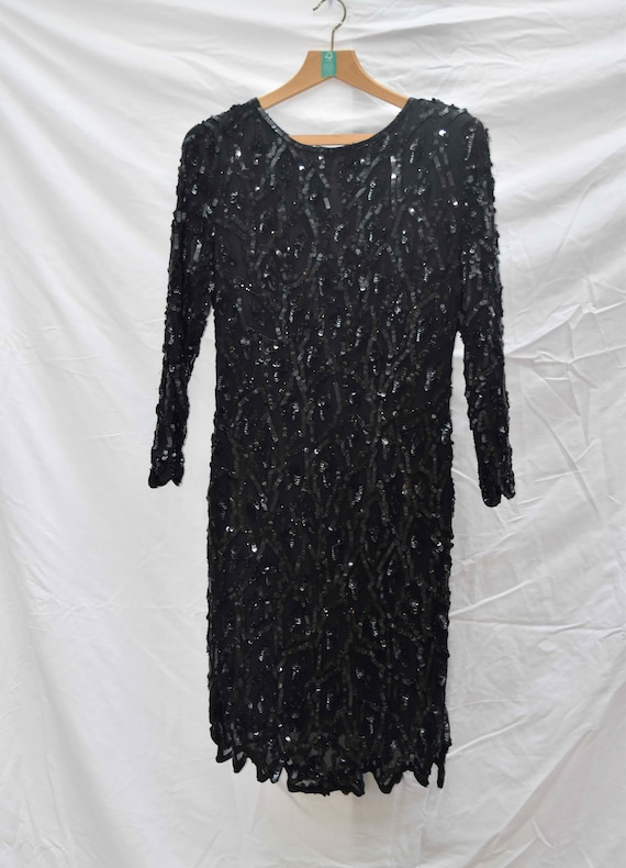 Black 80s Sequinned Cocktail Dress