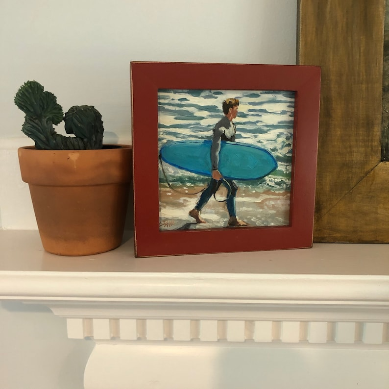 Oil Painting of Surfer with Board Signed and Orignal Gift Small Affordable Wall Art Perfect Dorm Decor 6x6