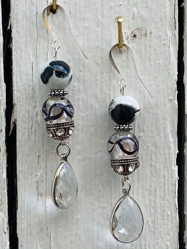 Black and White Glass Beads with a Faceted Glass Charm