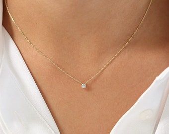 Gold Solitaire Necklace, Dainty Chain Necklace, Birthday Gift for Her, Delicate Simple Necklace, Bridesmaids Gift, Gold Color 925 Silver