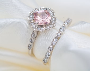 Vintage Morganite Ring Set, Art Deco 925 Sterling Silver Ring, Morganite Wedding Ring and Eternity Band, Birthday Anniversary Gift for Her