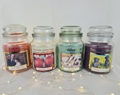 Personalised Yankee Candle Style Label Photo Christmas Wedding Birthday CANDLE NOT INCLUDED