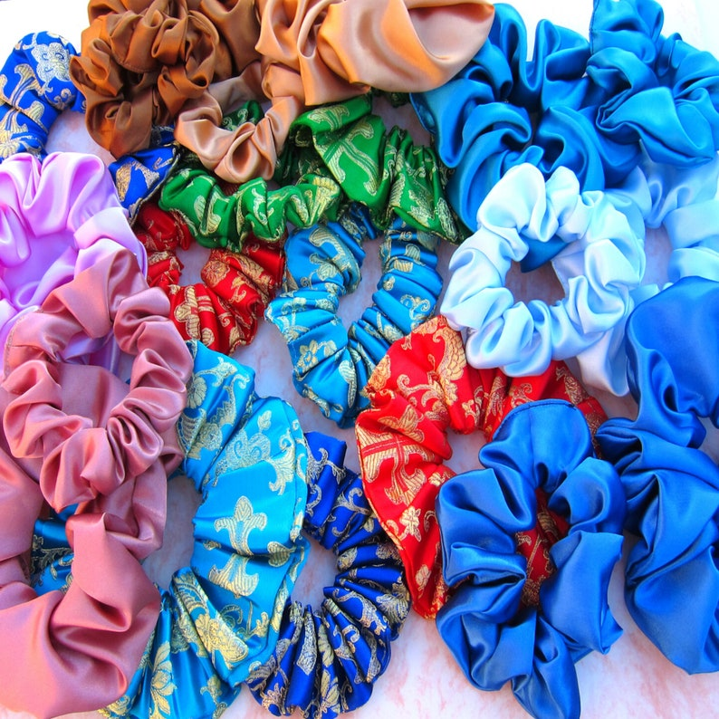 Baby Blue Scrunchies Icy Blue Satin Scrunchies Hair Ties Satin Scrunchies 2 Sizes Oversized and Regular