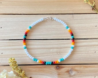 Dainty Boho Anklet Summer Jewelry Seed Bead Anklet Beach Jewelry Foot Jewelry Beach Anklet Boho Beaded Anklet Beaded Ankle Bracelet