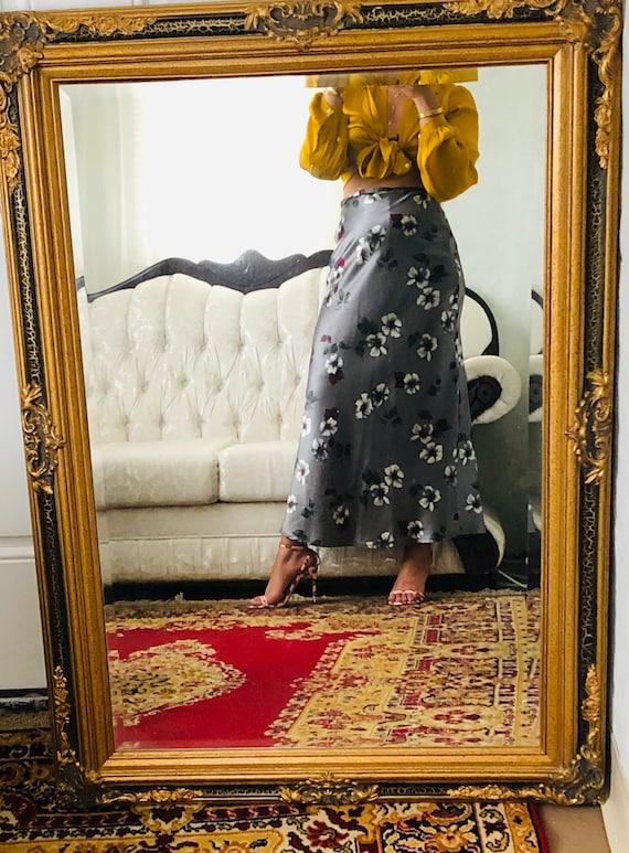 Vintage floral satin skirt