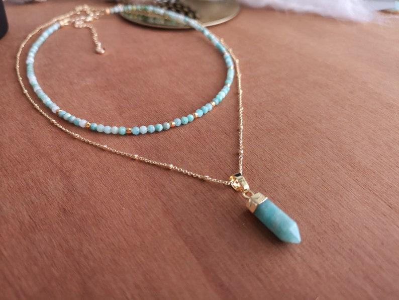 Enna Neck collar choker chain thin beads fine stone semi precious amazonite golden with fine gold lithotherapy