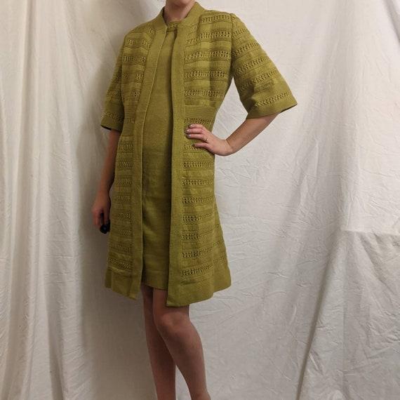 Vintage 60s chartreuse wool midi dress and jacket