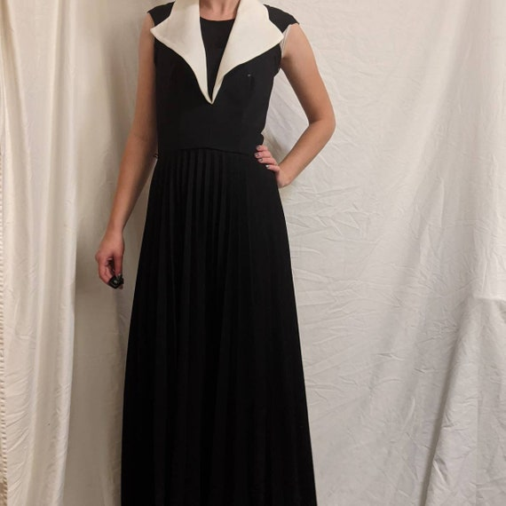 Vintage 50s black white pleated halter maxi dress