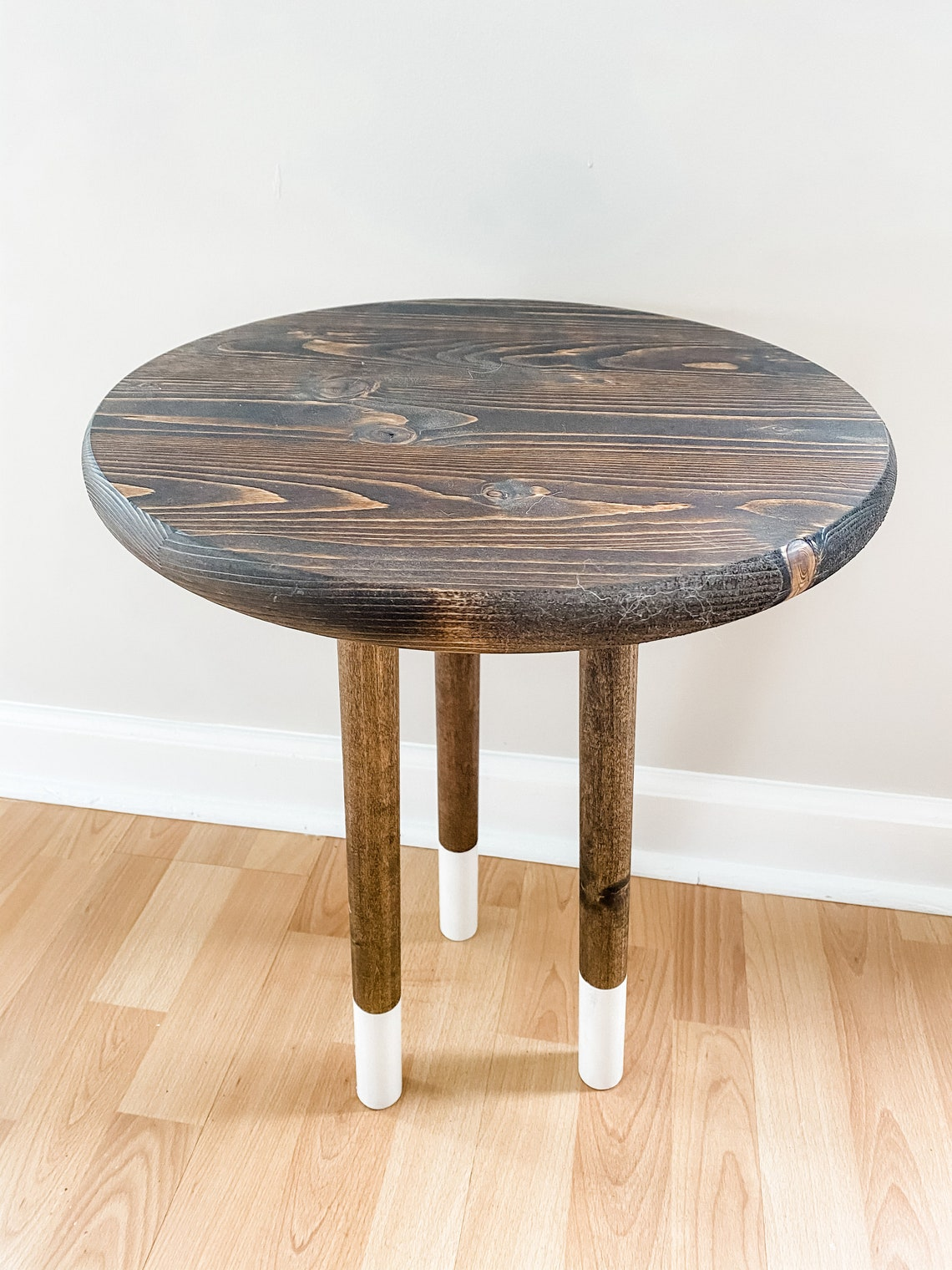 Handcrafted Round Wooden End Table