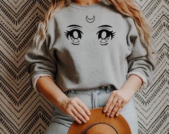 Aesthetic Anime Eyes Unisex Sweatshirt | Sailor Moon Shirt, Chibiusa, Vintage Anime Manga Eyes Sweatshirt, Anime Lover Gift, Anime Gift