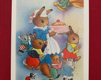 Vintage Duro Nursery Decal Retro Blue Polka Dot Puppy /& Green Calico Rabbit 347B
