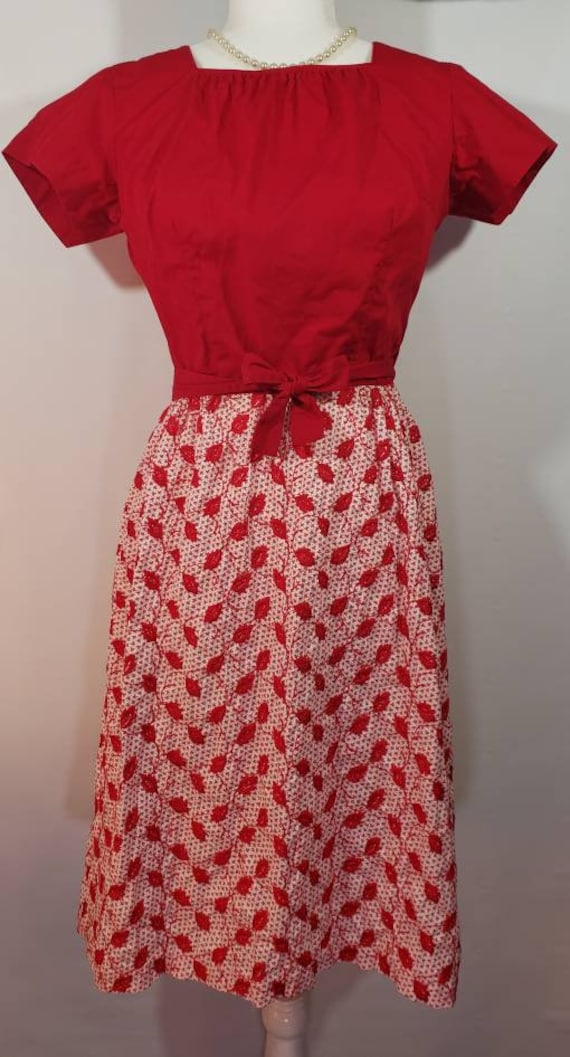 1950s Red Christmas Swirl Wrap Dress Embroidered