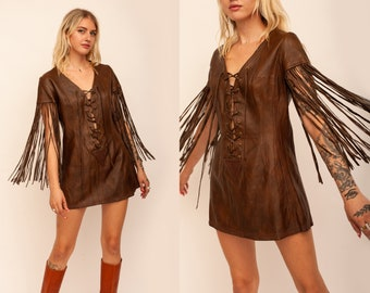 Vintage 1960s 60s Buttery Soft Brown Leather Custom Made in Sausalito, CA Fringe Corset Micro Mini Dress