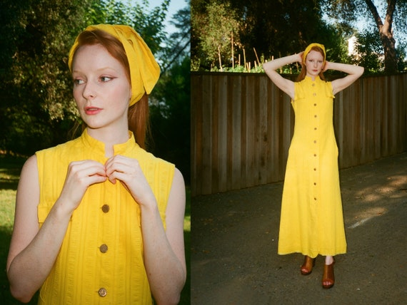 Vintage 1970s 70s Bright Yellow Maxi Dress Duster