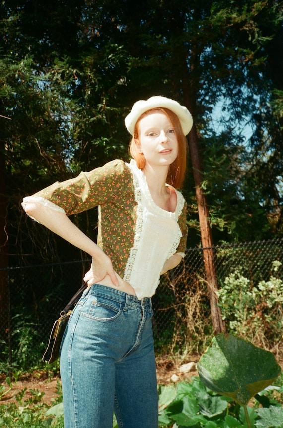 Vintage 1980s 80s Novelty Print Lace Boned Corset… - image 3