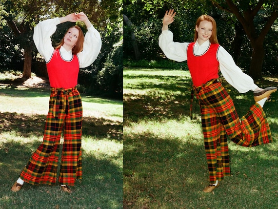 Vintage 1970s 70s High Waisted Yellow Tartan Wide