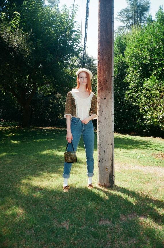 Vintage 1980s 80s Novelty Print Lace Boned Corset… - image 4