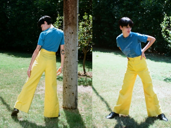 Vintage 1960s 60s Bright Yellow High Waisted Bell