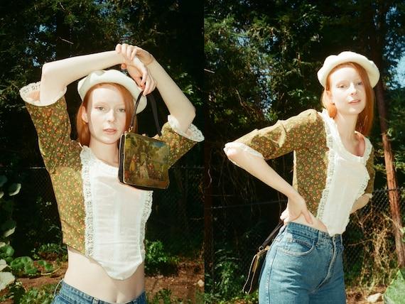 Vintage 1980s 80s Novelty Print Lace Boned Corset… - image 1