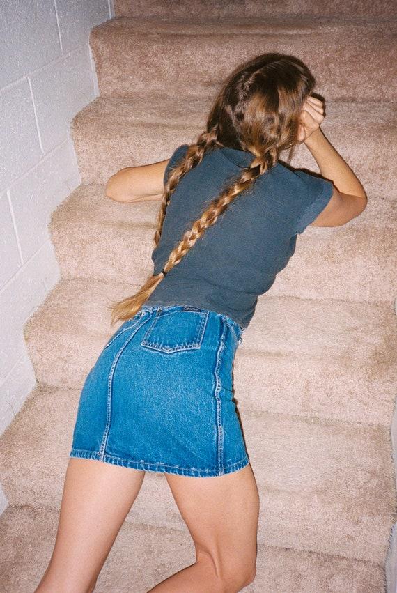 Vintage 1980s Calvin Klein High Waisted Denim Min… - image 4