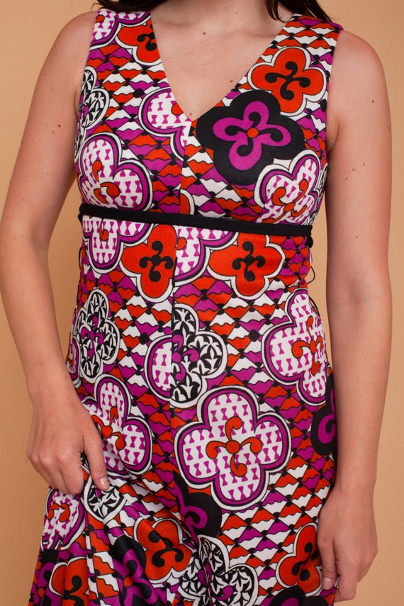 Vintage 70s Abstract Psychedelic Floral Print Max… - image 3