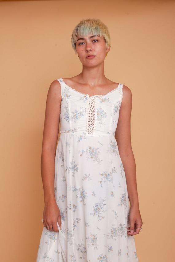 Vintage 70s Floral Prairie Full Length Corset Max… - image 2