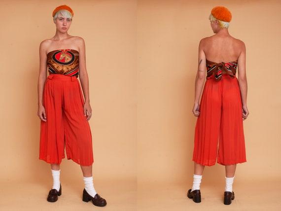 Vintage 70s Rust Orange High Waisted Sheer Pleate… - image 1