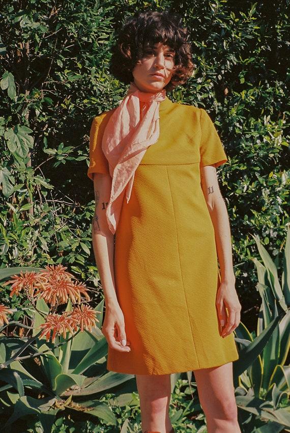 Vintage 1960s Marigold Twiggy Shift Mini Dress - image 2