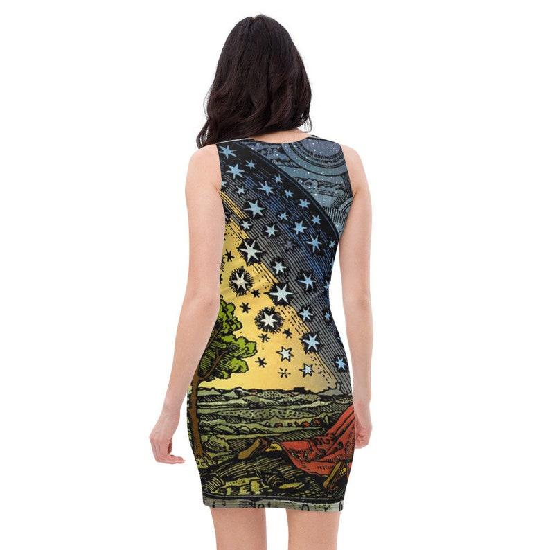 Sun Moon Stars Celestial Dress Witch Dress Bodycon Dress Goth Dress Gothic Dress Pin Up Dress Pencil Dress Alchemy Star Dress Pagan Dress
