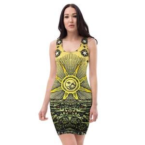 Celestial Dress Witch Dress Bodycon Dress Goth Dress Gothic Dress Pin Up Dress Pencil Dress Alchemy Star Dress Esoteric Pagan Dress