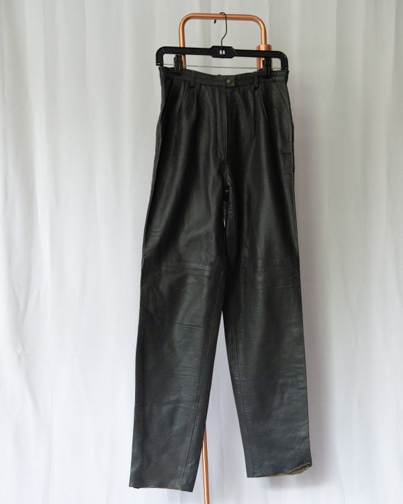 Vintage 80s 100% Leather High Waisted Trousers - D