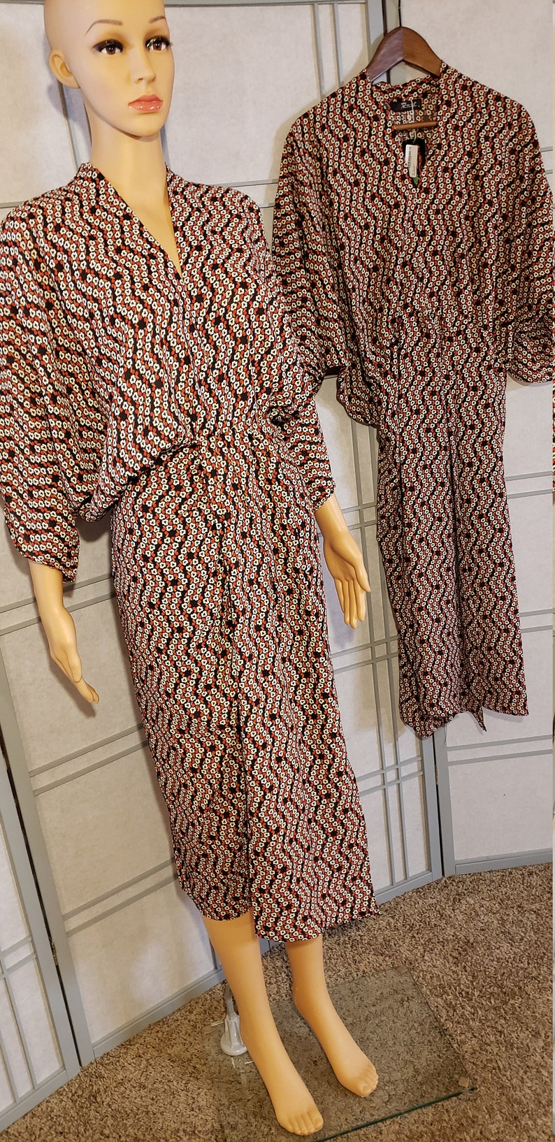 Modest Printed Wrap Midi Dress
