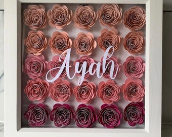 Personalised Name Frames | Roses | Flower Wall | Personalised Gifts | Gift for Her | Bedroom Decoration | Nursery Name with Sign