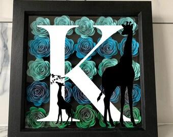 Personalised Flower Frame  | Nursery and Kids bedroom | Personalised Gift | Animal Frame | Babyshower Gift | Birthday Gift