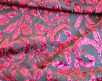 Red rose burnout velvet Burgundy floral velvet 5 yards  x 44 wide velvet for fashion sewing or home decor