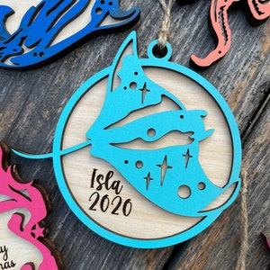 Modern Geometric Stingray Spotted Ray Animal Christmas Ornament Gift Stocking Tag \u2013 Personalized
