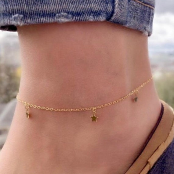 Double Star anklet Dainty Star anklet Gold filled Silver anklet Delicate Star anklet double chain star anklet Star anklet foot jewelry