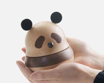 Panda Music Box Roly Poly Toy Panda Gift Wood Music Box Handmade Wooden Panda Art