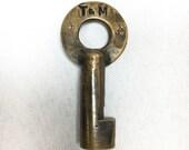Texas Mexican Railway Railroad RR OBSOLETE Vintage Brass Hollow Barrel Lock Key