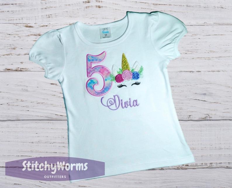 Unicorn 5th Birthday Outfit Magical Rainbow Unicorn Shirt