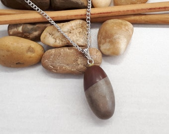 Shiva Lingam Necklace Celestial Jewelry Reiki Infused Healing Stone Pendant Sacral and Base Chakra Healing Inner Child Healing|Brown